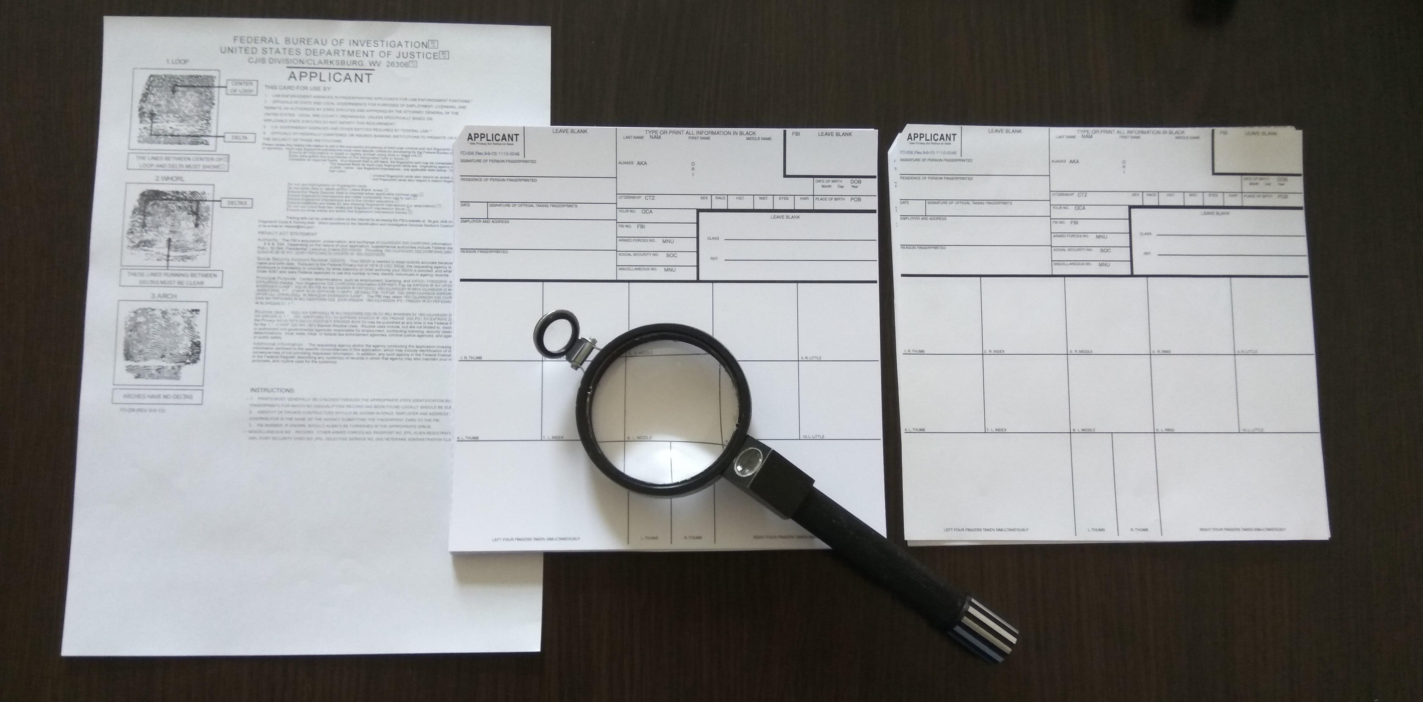 Fill in the form FD 258, fingerprinting in Kiev.